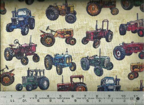 Quilting Treasures ~ Realistic Antique Tractors ~ 100/% Cotton Quilt Fabric BTY