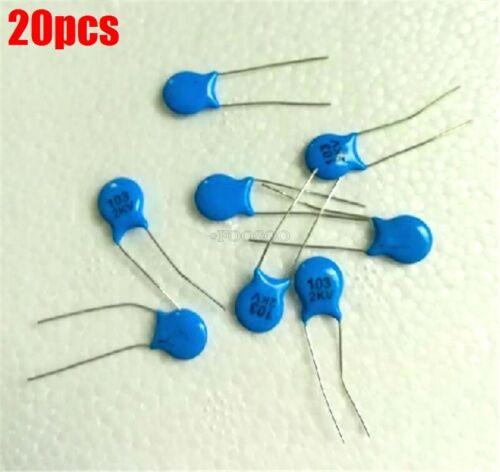 20Pcs Ceramic Disc Capacitor 0.01UF 10Nf 103 2000V 2Kv gq