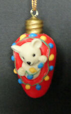 Red Christmas Light Bulb White Bear Holding Decorations Ornament Free USA Ship