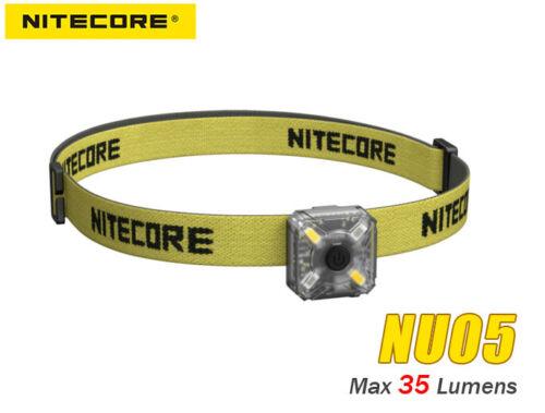 Nitecore NU05 Kit USB Rechargeable Headlamp W// Red /& White Light Bike Mounts