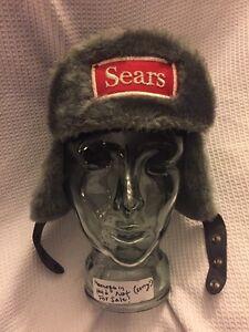 Vintage SEARS Winter Naugahyde Faux Fur Ear Flap Cover WORK HAT Cap ... 262d536062d