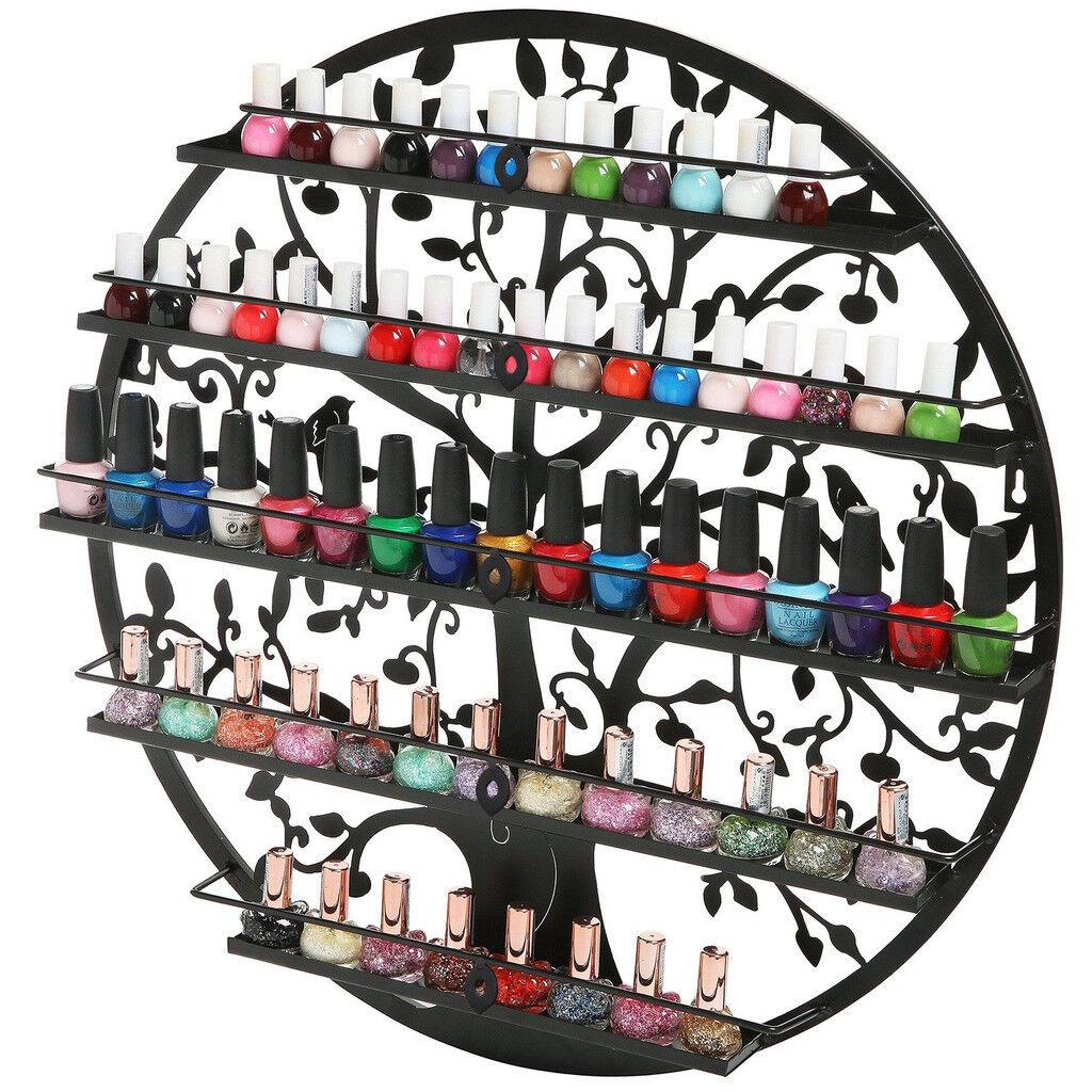 5 Tier Black Wall Mount Nail Polish Rack Salon Organizer Storage Holder Shelf Health & Beauty