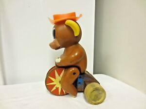 Older Wood Wheel Plastic Animal Figural Pull Toy Legs Move Sold As