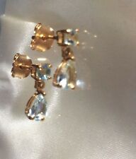 1 Ct, Pear, Aquamarine Earrings, Drop, Stud, Gold Overlay Sterling Silver