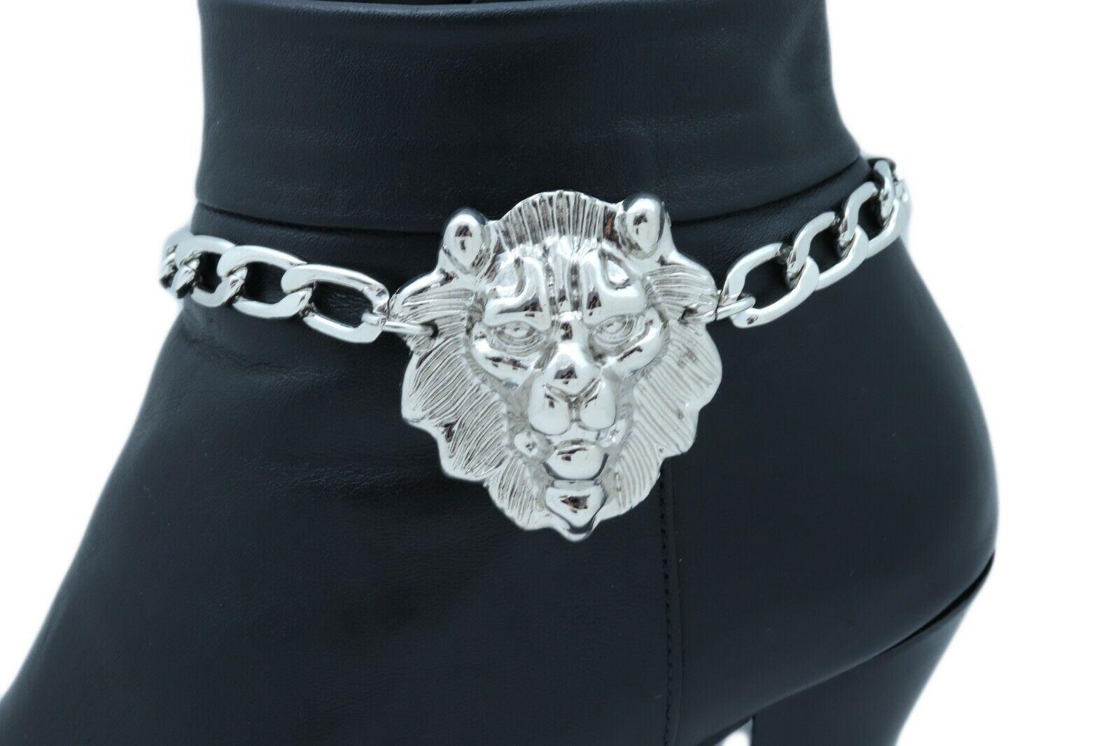 Travel Women Silver Metal Boot Chain Bracelet Anklet Shoe Shiny Lion Charm Bling