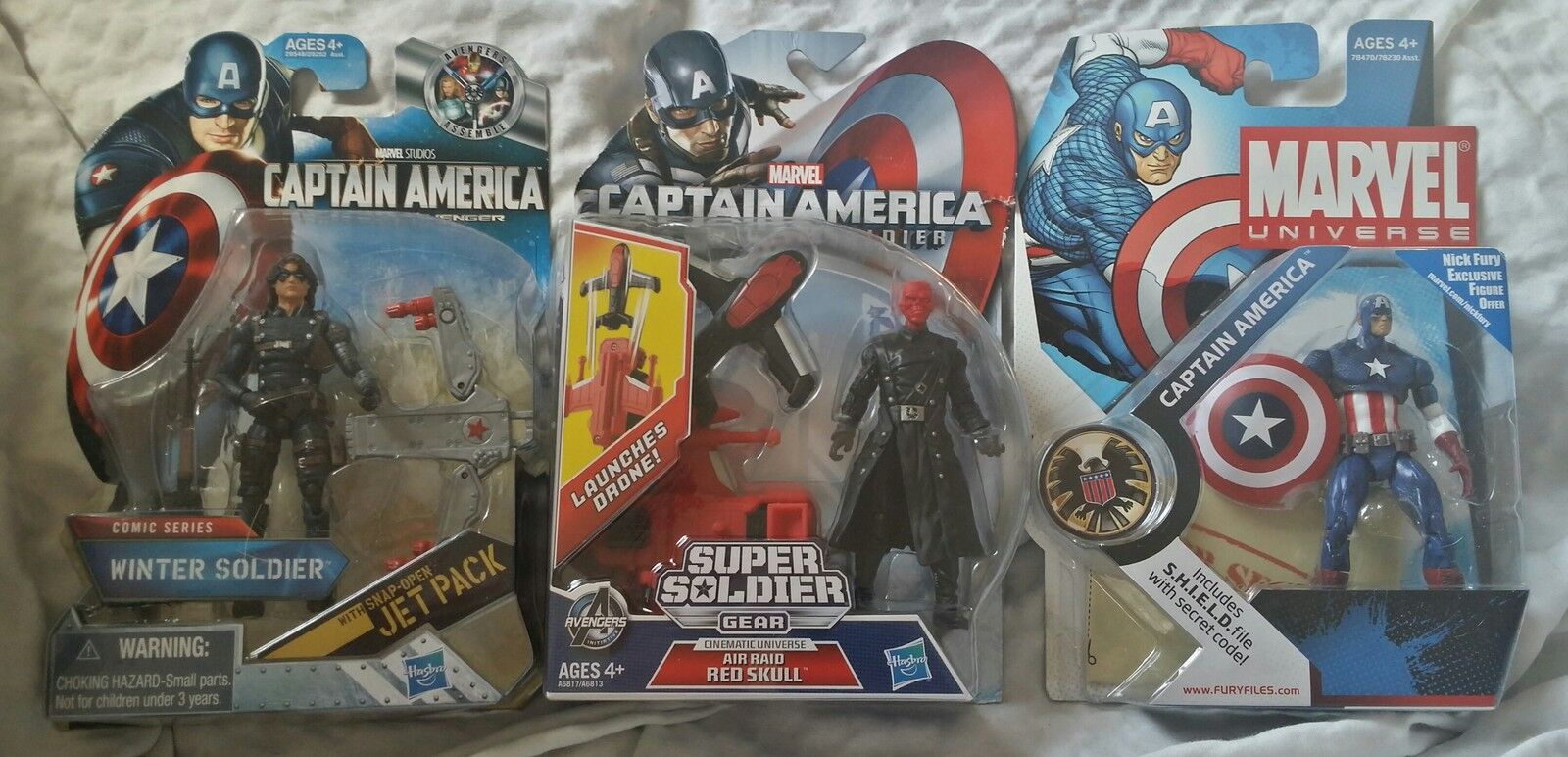 Marvel Universe Action Figures Lot - Winter Soldier Captain America Red Skull