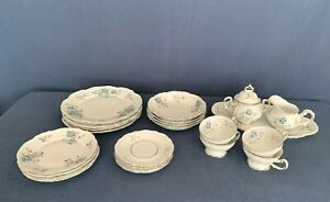 Vintage Louise By Hertel Jacob Bavaria Germany Blue Flower 23 Pc Dinnerware Set