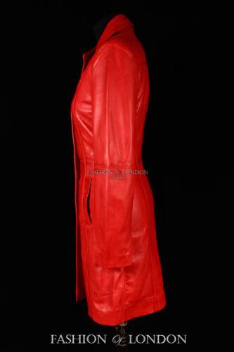 Jacket Length Washed Long Ladies Middleton Knee Real Red Lambskin Coat Leather 6816pWqH