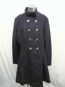 84104748823 Details about Guess LA Navy Wool Custom Metal Button Winter Long Coat  Women's Size XL