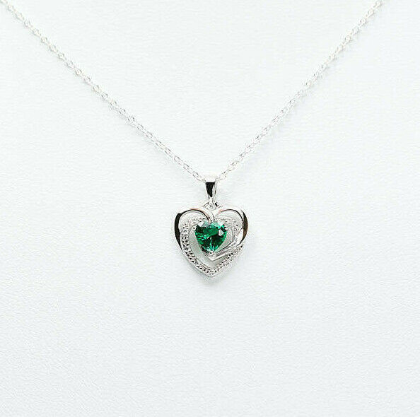 Sterling Silver May Green CZ 18 Inch Birthstone Necklace