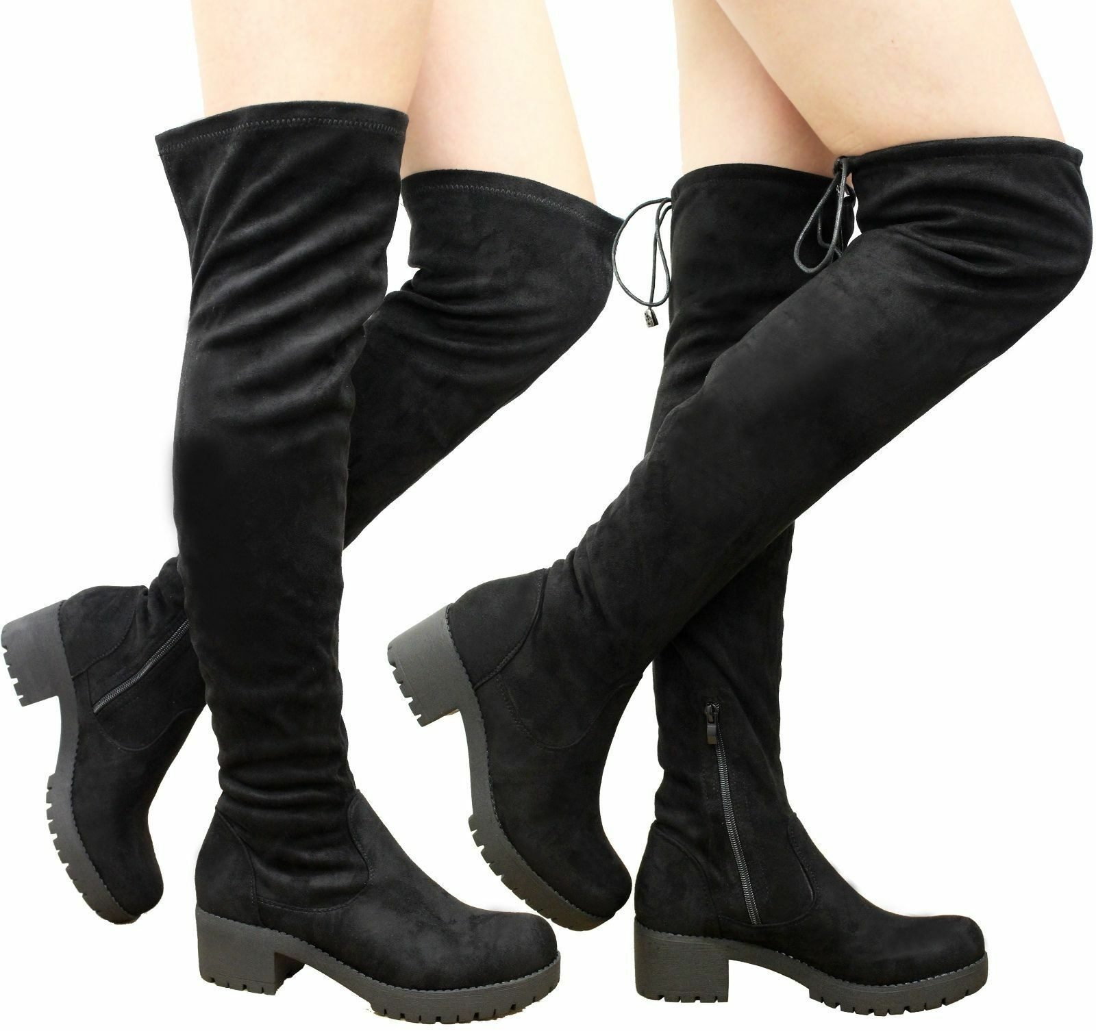 New Ladies Womens Over The Knee Boots Thigh High Lace Up Chunky Heel Shoes Size