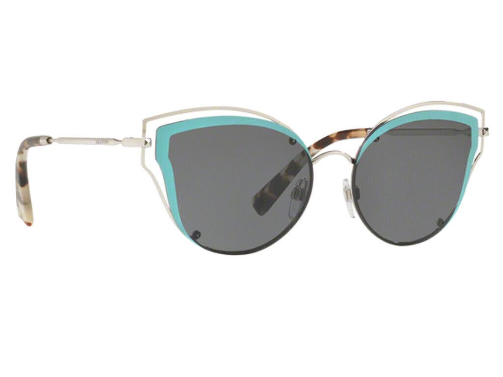 10 Valentino VA 2015 3006/87 Cat Eye Silver Light Blue Gray Sunglasses 58*17*140