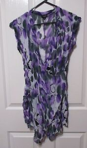Ladies-Long-mauve-floral-Blouse-size-S-Threadz-brand-sleeveless-Wrapped-style