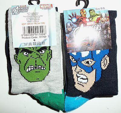 Boys 2 Pack Marvel Comics, calcetines, Hulk, Capitán América Calcetines