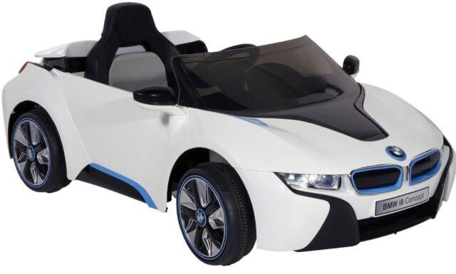 BMW I8 Ride On Kids Power Wheels Car RC Remote 6V White W Blue
