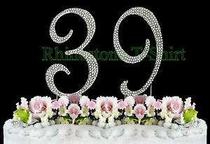 Image Is Loading Large Rhinestone NUMBER 39 Cake Topper 39th Birthday