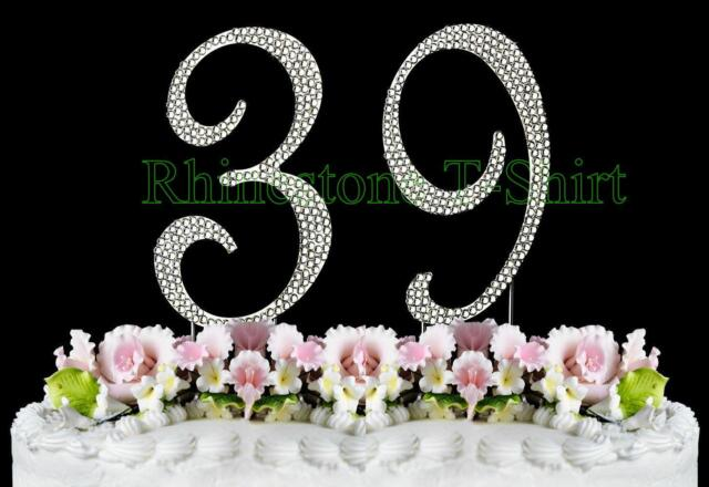 Large Rhinestone NUMBER 39 Cake Topper 39th Birthday Wedding Party Anniversary