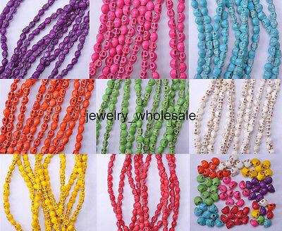 Wholesale 20pcs/100pcs Turquoise Skull Head Charm Spacer Beads 6x8mm