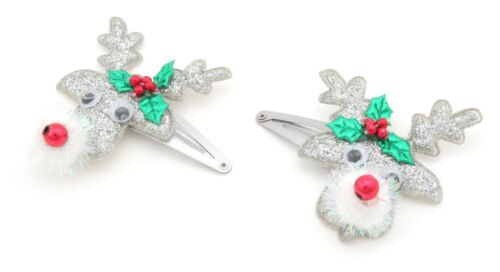 Zest 2 Glittery Christmas Rudolph Hair Slides with Wiggly Eyes Silver /& Grey