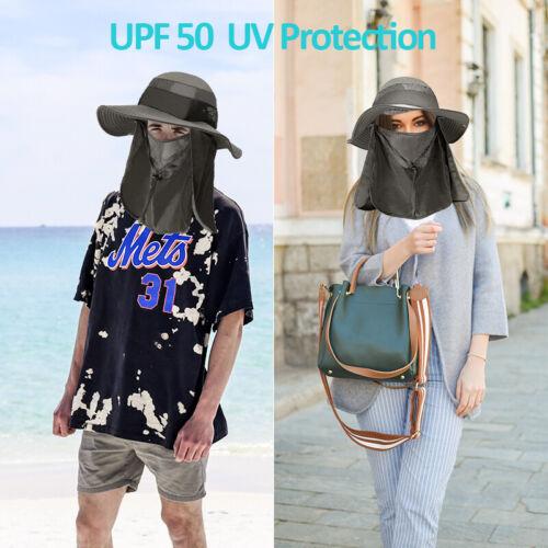 "4/"" Wide Brim Outdoor Fishing Hat Sun Protection Neck Face Flap Cap For Men Women"
