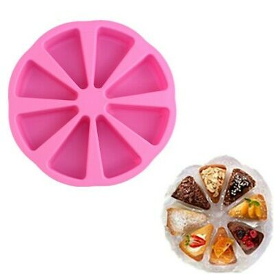 8 Cavity Silicone Round Baking Pan Triangle Cake Muffin Making Mold Pizza Slices
