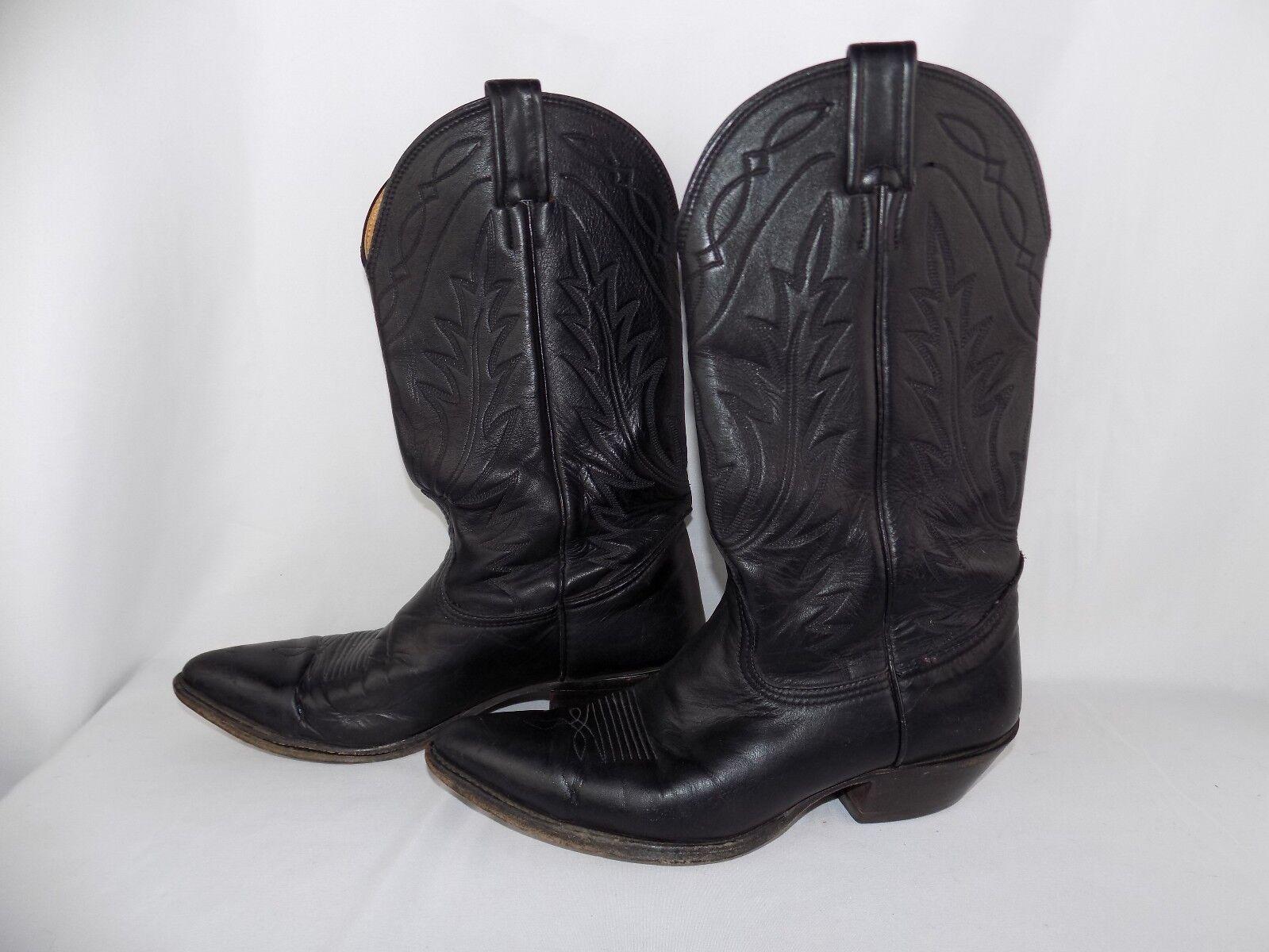 Nocona Negro Cuero Occidental Vaquero Rodeo Para hombre botas C 7.5