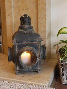Antique-Black-4-window-French-Vintage-Style-Large-Lantern-Candle-Holder-aged