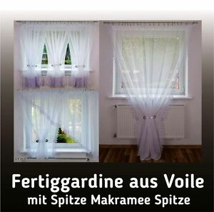 fenstergardine balkongardine bis 600 cm lang fertiggardine aus voile vorh nge ebay. Black Bedroom Furniture Sets. Home Design Ideas