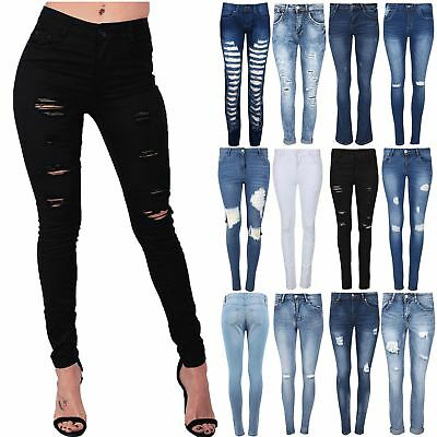 Womens Front Pockets Laser Cut Out Ripped Ladies High Waisted Pants Denim Jeans