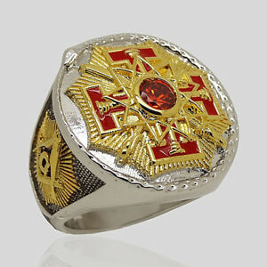Details about Masonic 33rd Degree Freemason Ring 18k Gold Pld Knights  Templar Size by UNIQABLE