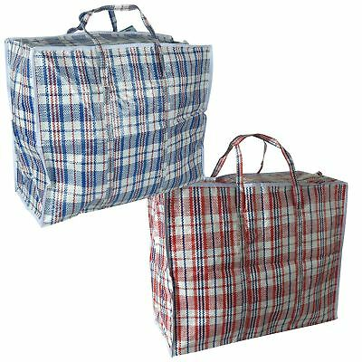 a2d0fb9b4c74c9 Reusable Laundry Storage Shopping Bags Zipped Strong Woven Jumbo Travel Bag  | eBay