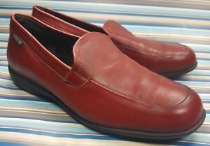 MEPHISTO-COOL-AIR-RED-LEATHER-LOAFERS-SLIP-ON-100-CAOUTCHOUC-WOMENS-SHOES-7-5