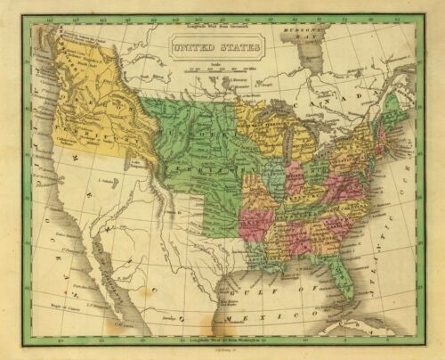 1830 UNITED STATES AMERICA historic map John Grigg 0315004