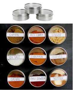 IKEA 3 stainless steel magnetic containers w lid spice jars storage tin GRUNDTAL