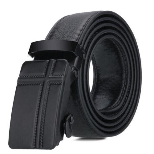 Luxury Mens Automatic Buckle Belts Ratchet Genuine Leather Belt Strap Waistband