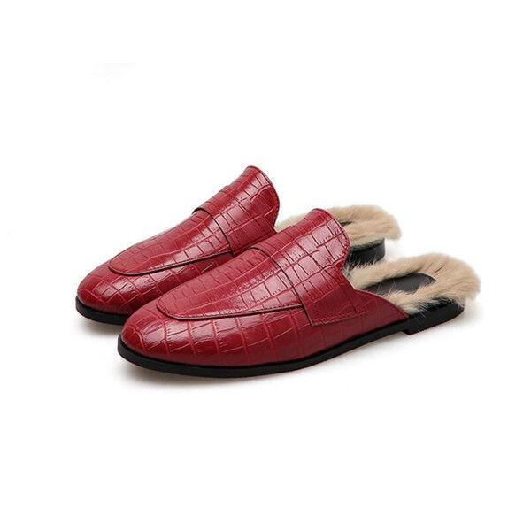 Ballerine mocassini chaussures  classiche rouge pelliccia eleganti e comodi 1762