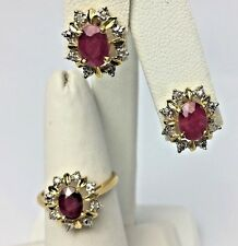 2.25ct Natural Ruby Diamond Accent 14K Yellow Gold Earring Ring Set NISSKO