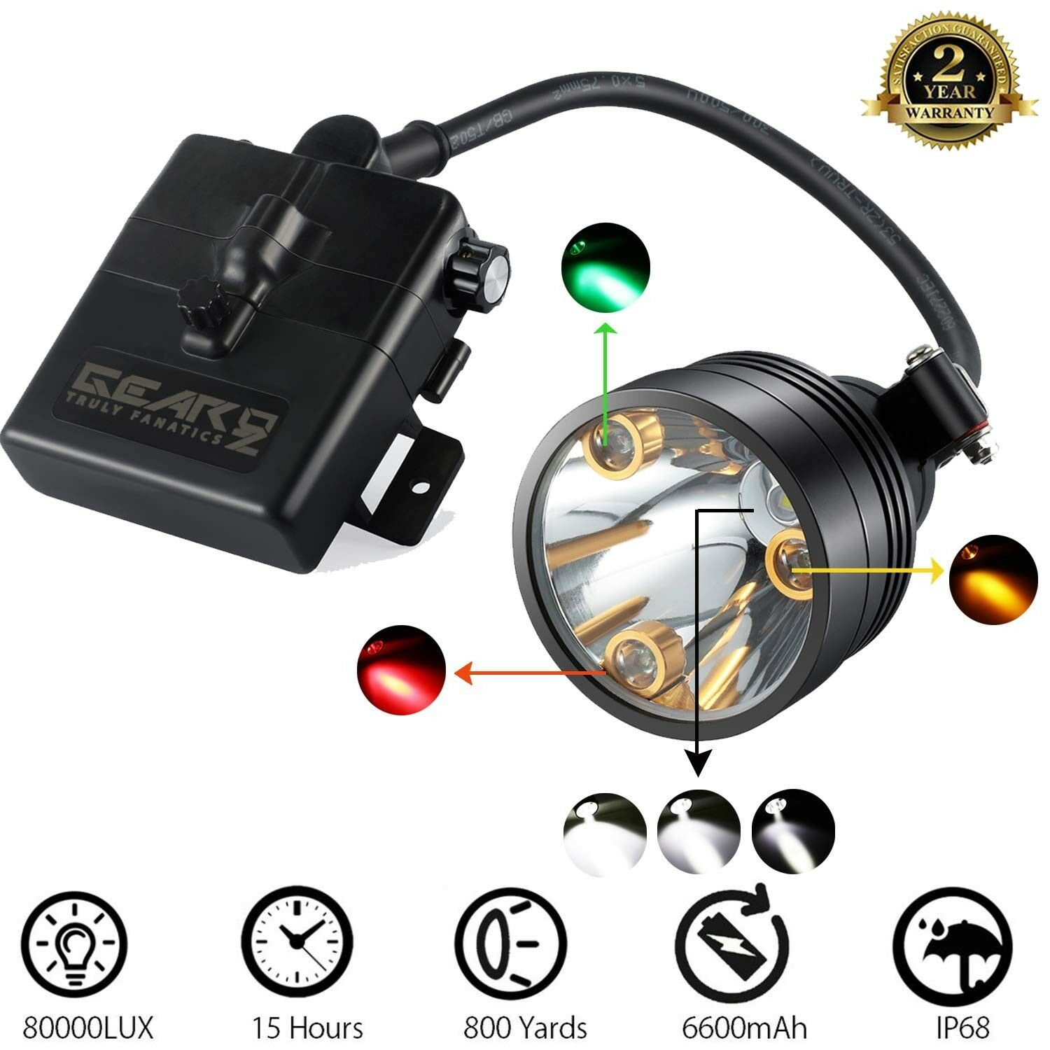 Cree LED Hunting Lights with Red & Green Hunting Light for Scanning Coons,Coy...