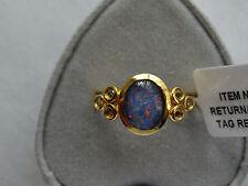 1.75Ct  Australian Boulder Opal & Topaz 14K Y Gold/925 Ring Size S