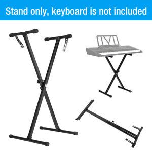 Black-Adjustable-Height-Keyboard-Piano-X-Stand-Electric-Organ-Metal-Braced-Rack
