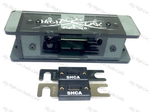 2 Sky High SMOKED 2//0 Dual ANL Plexiglass Fuse Holder W// 250 Amp ANL Fuses