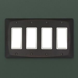 Details About Rustic Quad Rocker Toggle Gfi Wall Outlet Light Switch Cover Oil Rubbed Bronze