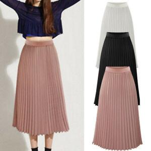 Boho-Women-Double-Layer-Pleated-Dress-Midi-Elastic-Waist-Maxi-Dress-Beach-Skirt