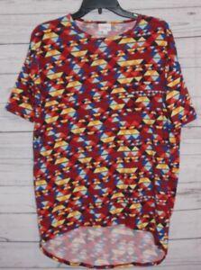 Lularoe-Women-Irma-Top-XXS-Red-Blue-Aztec-Light-Tunic-Shirt-Print-Short-Sleeve
