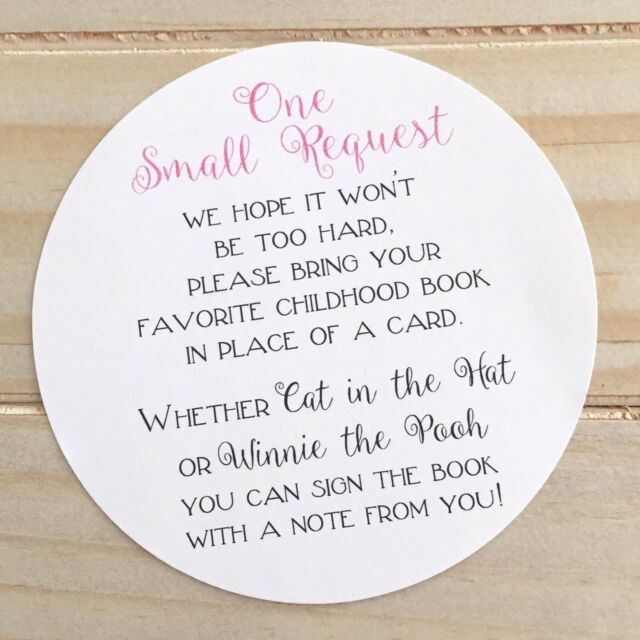 Set Of 10 Baby Shower Please Bring A Book Instead Card Poem Insert Cards