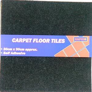 2 x Durable Self Adhesive Carpet Floor Tiles 30 x 30cm Plain Black ...
