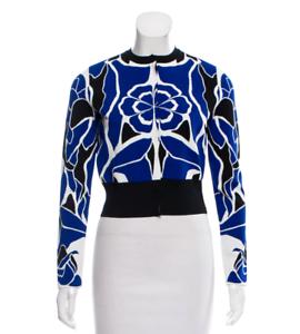 Alexander McQueen McQ Kaleidoscope floral flower bluee op art top knit cardigan