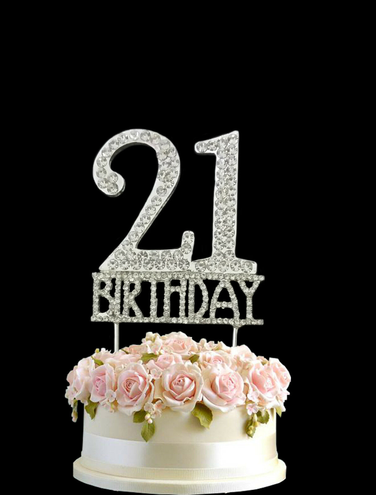 Crystal Monogran Happy 21st Birthday Cake Topper Rhinestone Diamante Silver