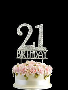 Image Is Loading Crystal Monogran Happy 21st Birthday Cake Topper Rhinestone