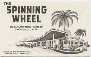 Details about The Spinning Wheel - Sarasota, FL Florida Black & White  Vintage Postcard